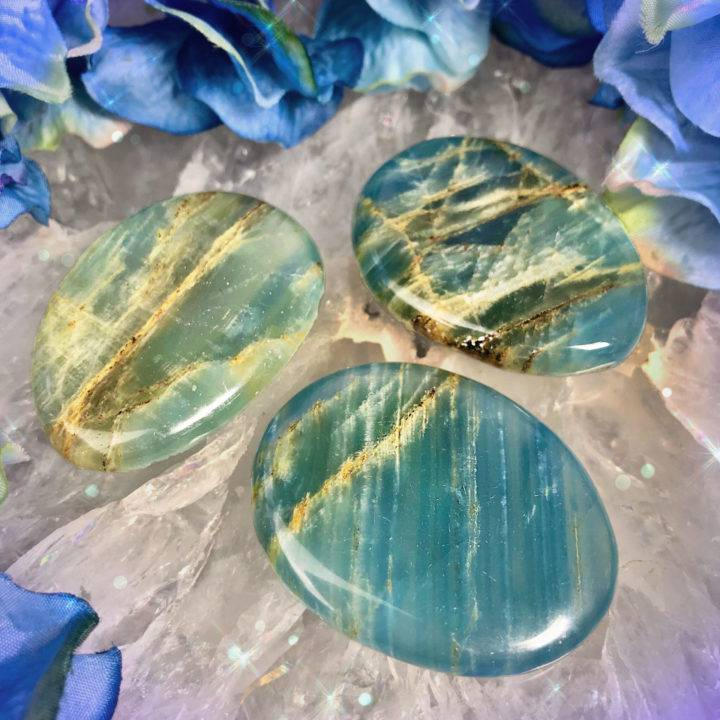 Peaceful Ascension Lemurian Blue Calcite Palm Stones