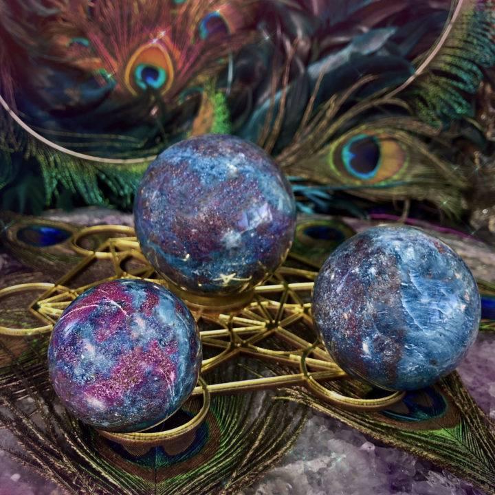 Ruby Kyanite Spheres with Metatrons Cube Sphere Stand