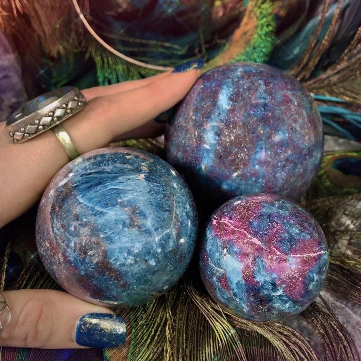 Ruby Kyanite Spheres with Metatron's Cube Sphere Stand