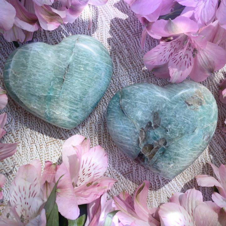 Amazonite and Smoky Quartz Hearts