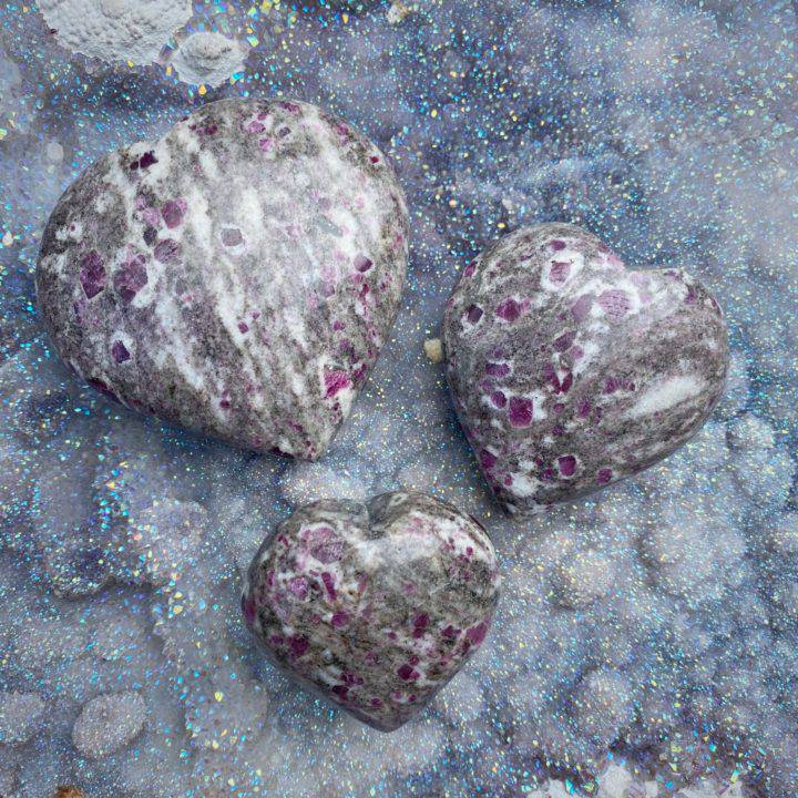 Ruby in Biotite and Moonstone Matrix Hearts