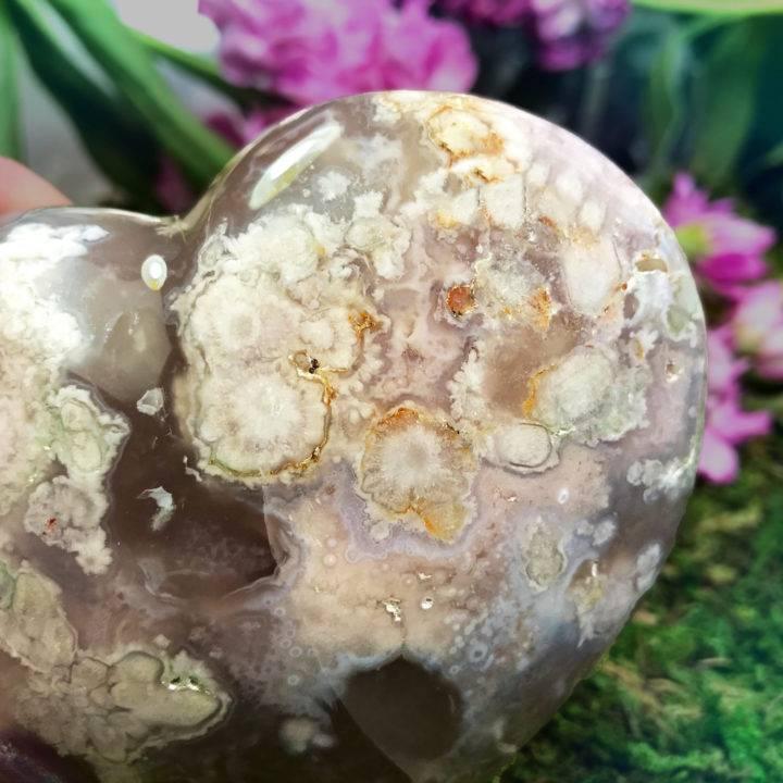 Unfolding Beauty Flower Agate Hearts