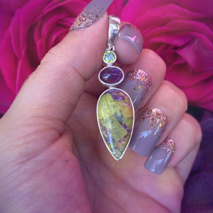 Atlantisite Pendant with Peridot and Amethyst