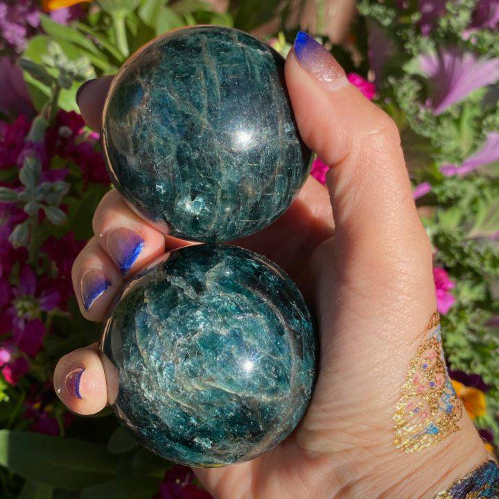 Blue and Green Apatite Spheres