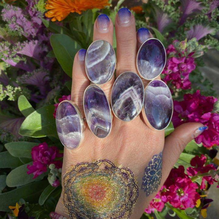 Banded Amethyst Oval Rings