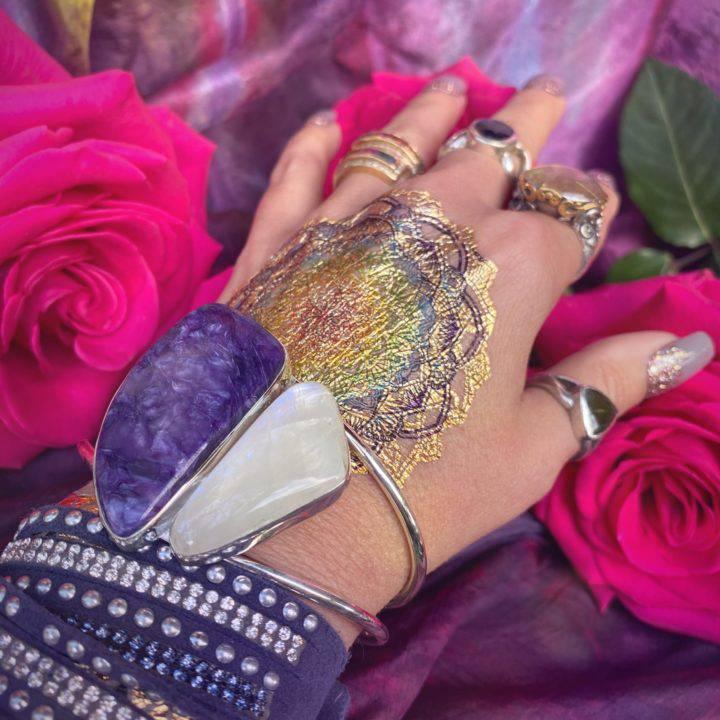 Charoite and Rainbow Moonstone Bracelet
