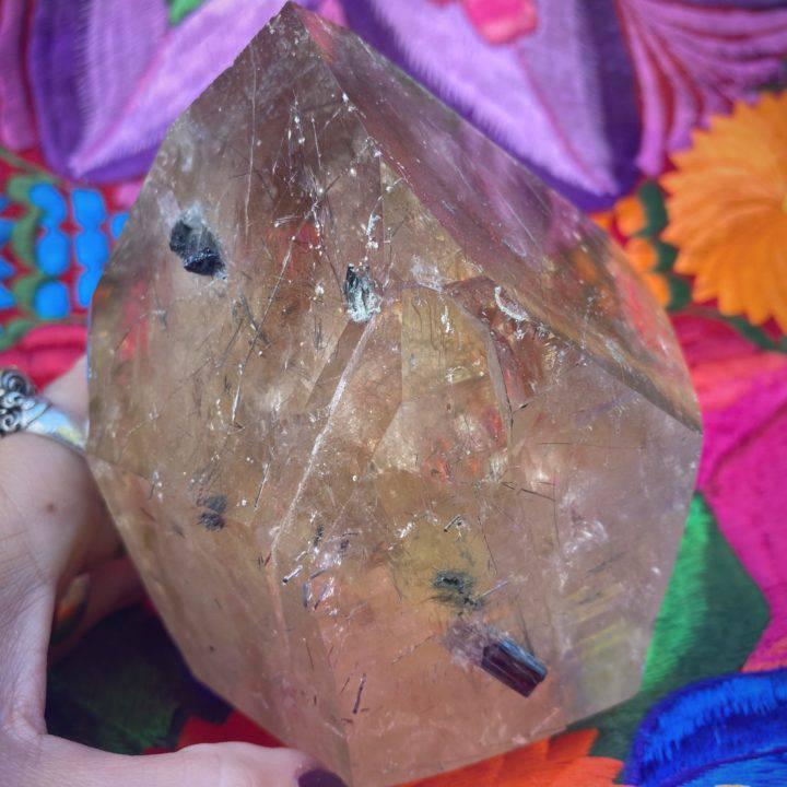 Citrine Skull with Green Tourmaline