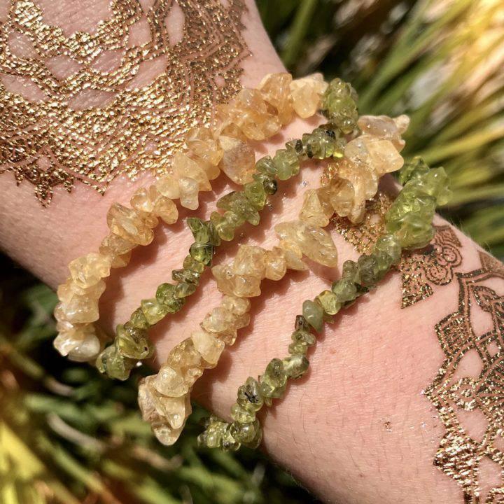 Citrine and Peridot Prosperity Bracelet Duo