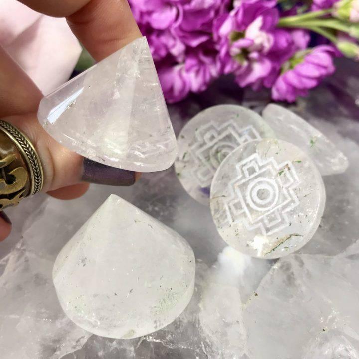 Clear Quartz Hand Carved Sri Yantra