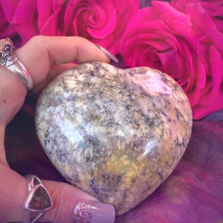 Dendritic Yellow Opal Heart