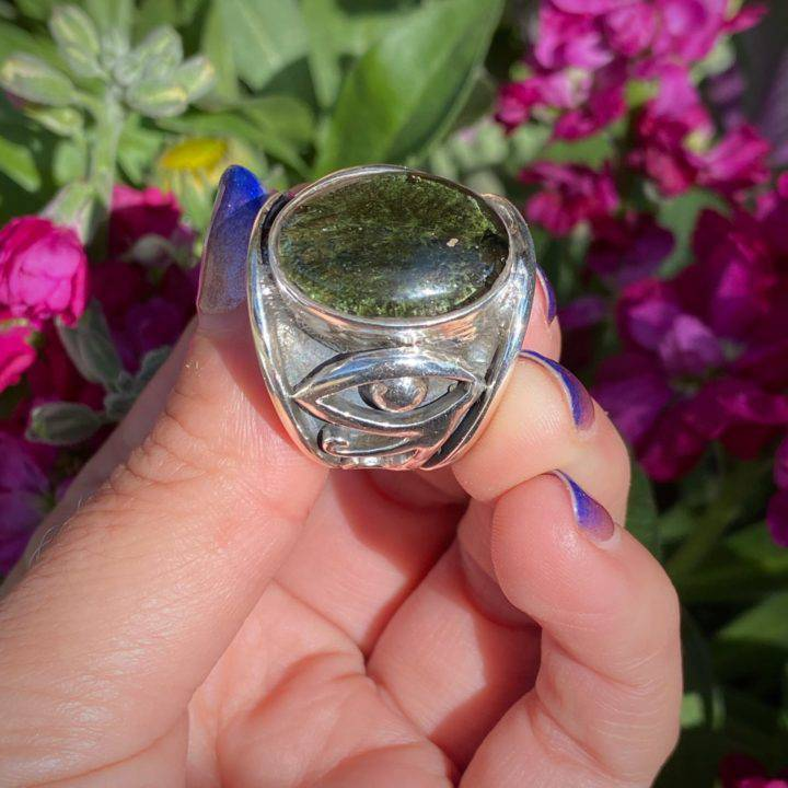 Eye of Horus Moldavite Ring