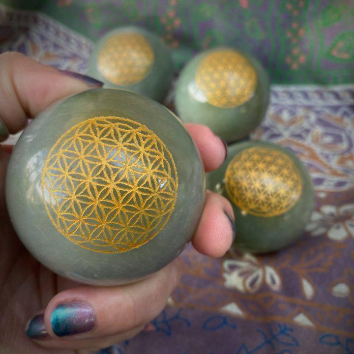 Green Aventurine Flower of Life Spheres