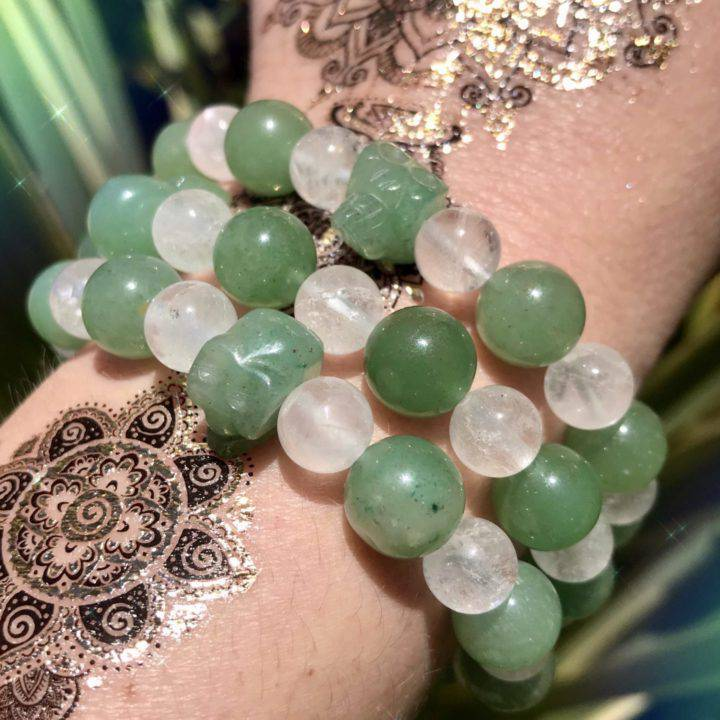 Green Aventurine and Quartz Skull Bracelets