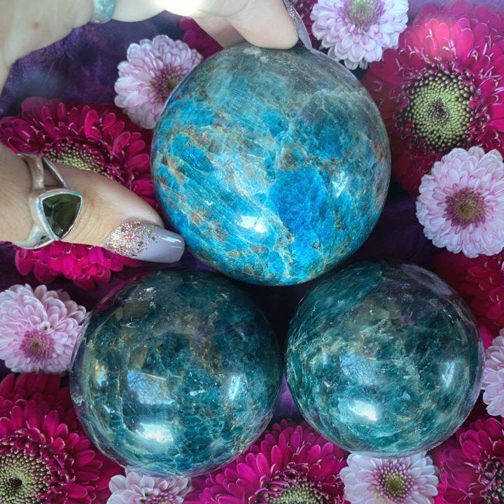 Green and Blue Apatite Healthy Metabolism Spheres