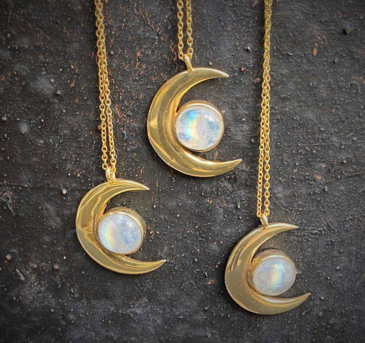 Rainbow Moonstone Crescent Moon Necklaces