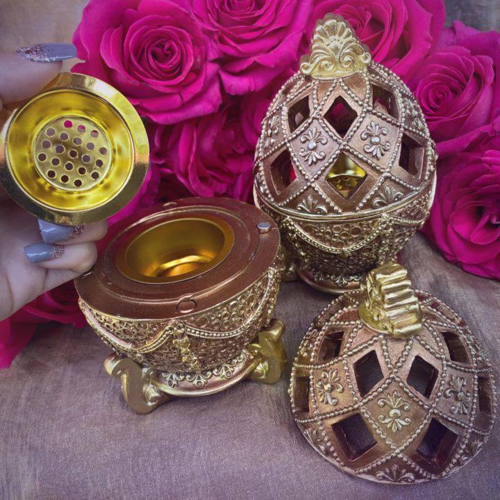 Golden Egg Incense Burners