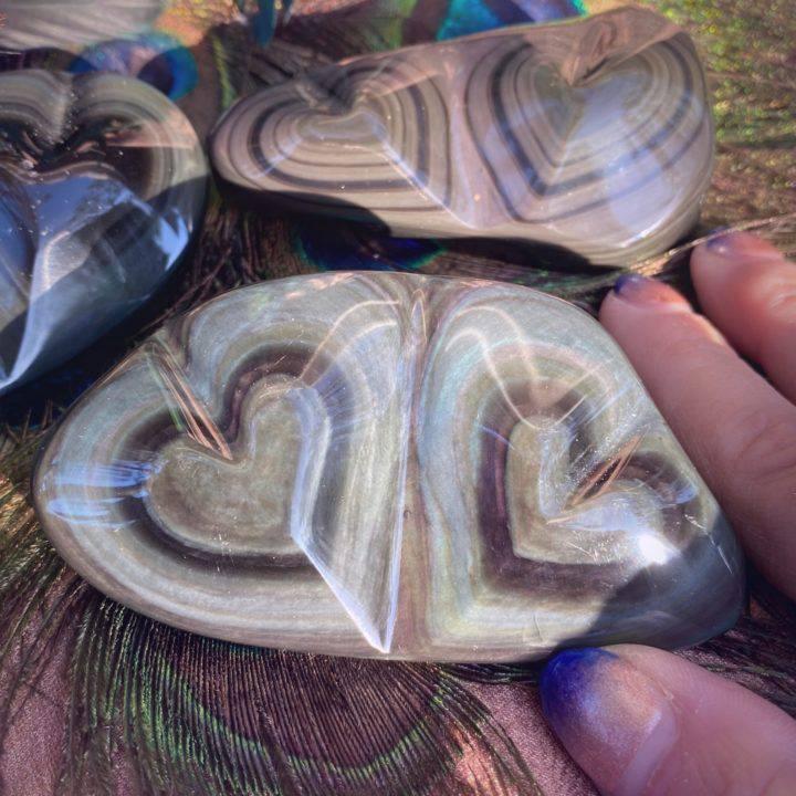 Rainbow Obsidian Double Hearts