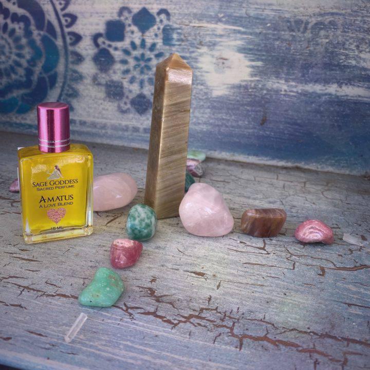Heart Healing Crystal Grid with Amatus Perfume