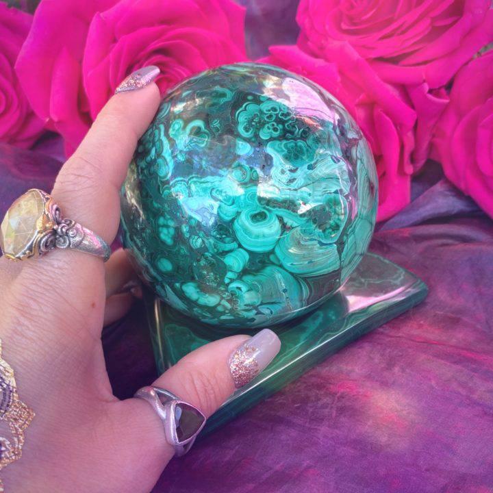 Malachite Sphere with Malachite Sphere Stand
