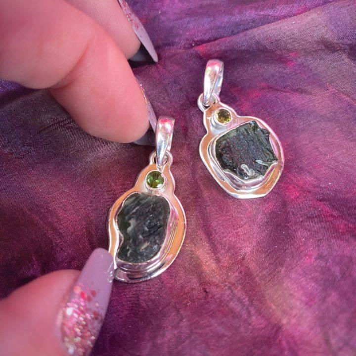 Moldavite and Peridot Pendants