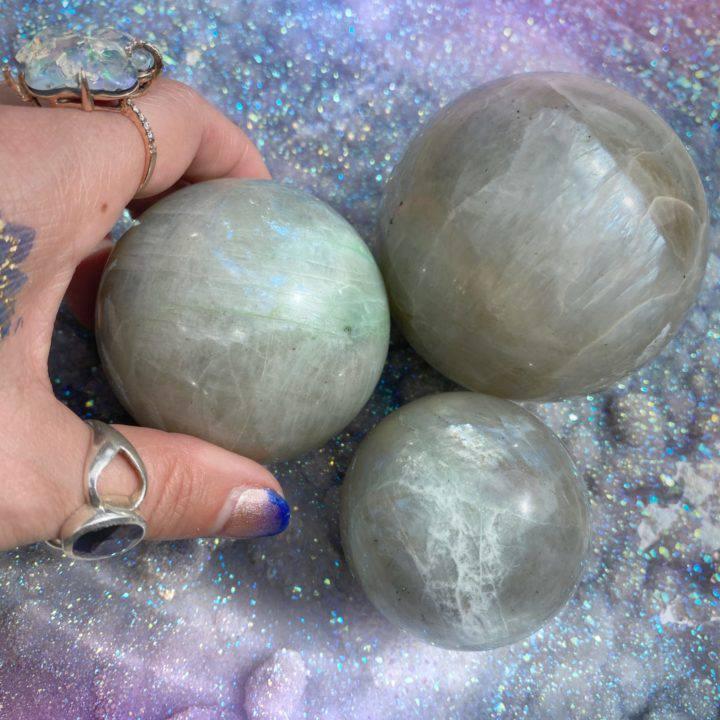 Moonstone and Garnierite Soul Path Spheres