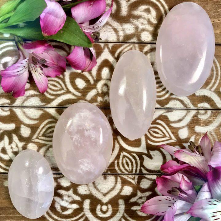 Pink Calcite Heart Healing Palm Stones