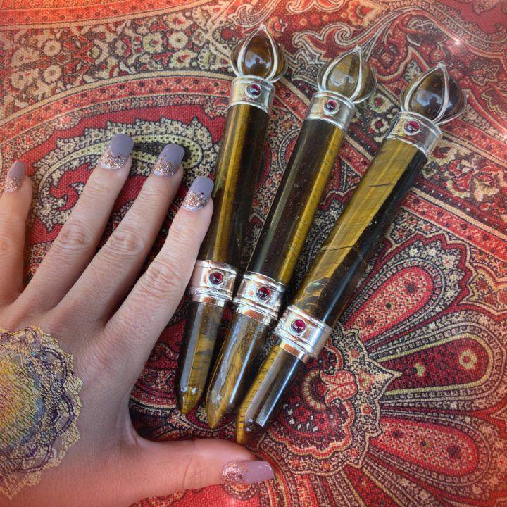 Tigers Eye and Garnet Goddess Athena Wands
