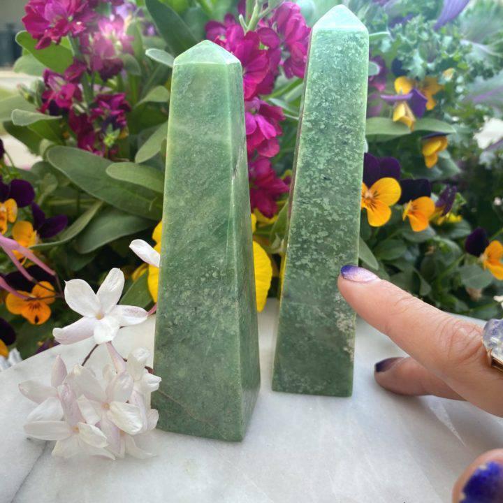 Grossular Green Garnet Obelisks