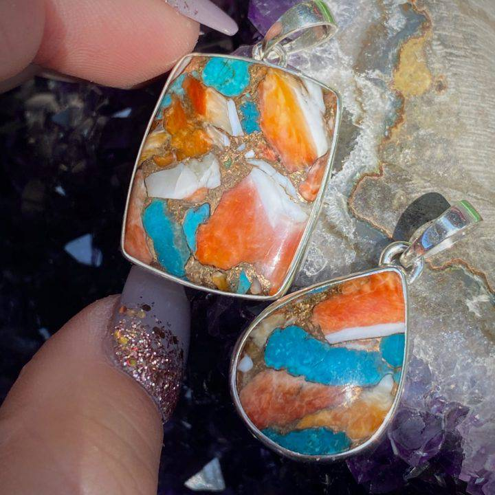 Turquoise and Spiny Oyster Pendants