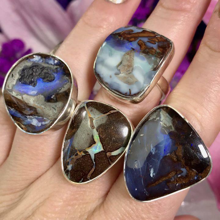 Adjustable Boulder Opal Rings