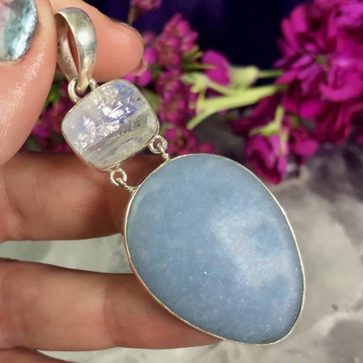 Angelite and Rainbow Moonstone Pendant