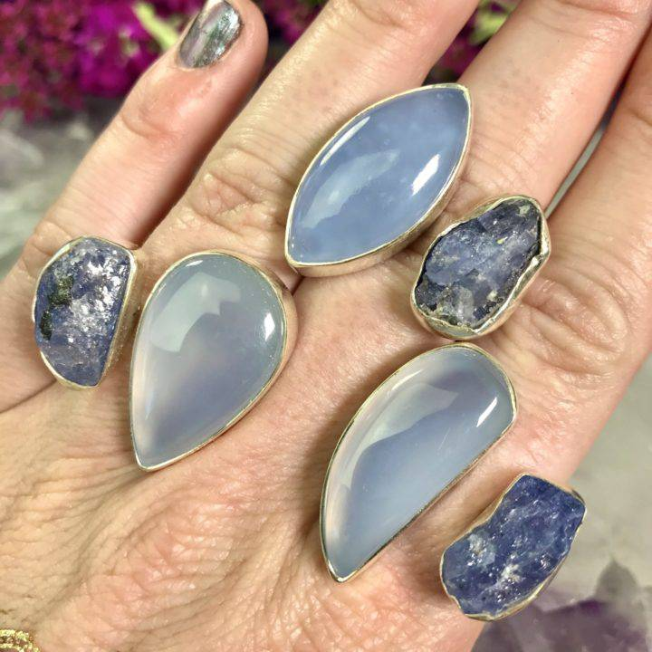 Blue Chalcedony and Tanzanite Rings