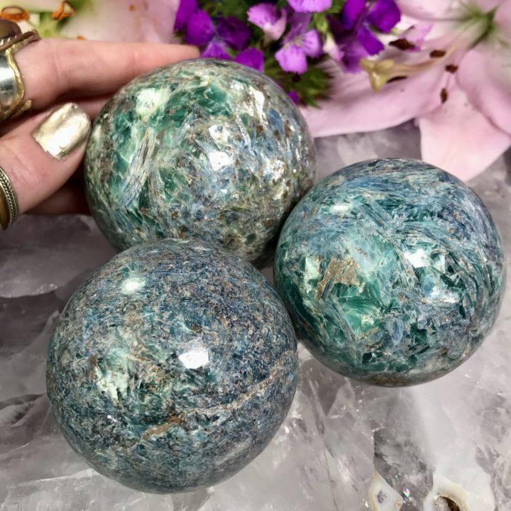 Blue and Green Kyanite Spheres