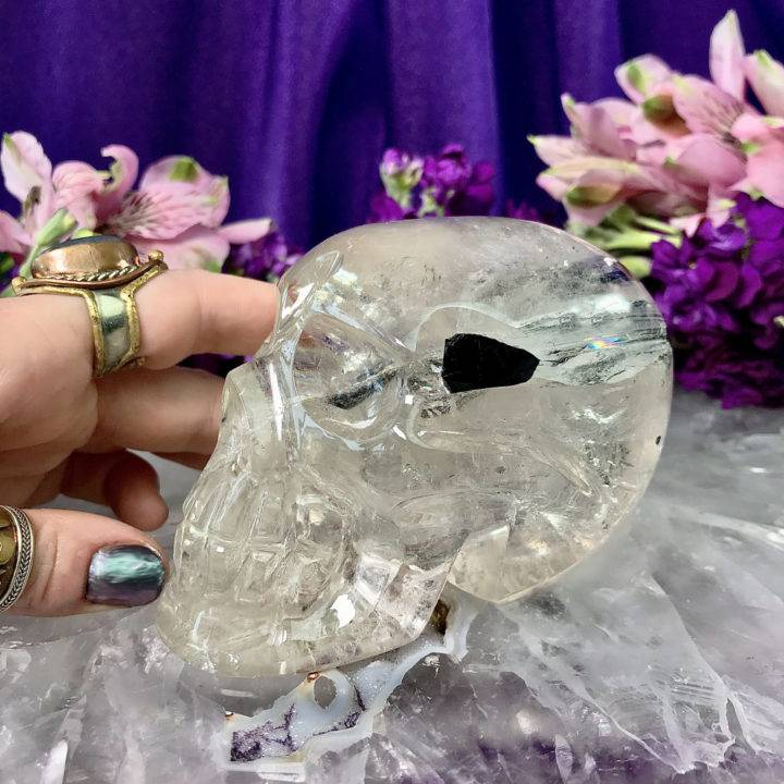 Clear Quartz Skull with Two Huge Green Tourmaline Inclusions