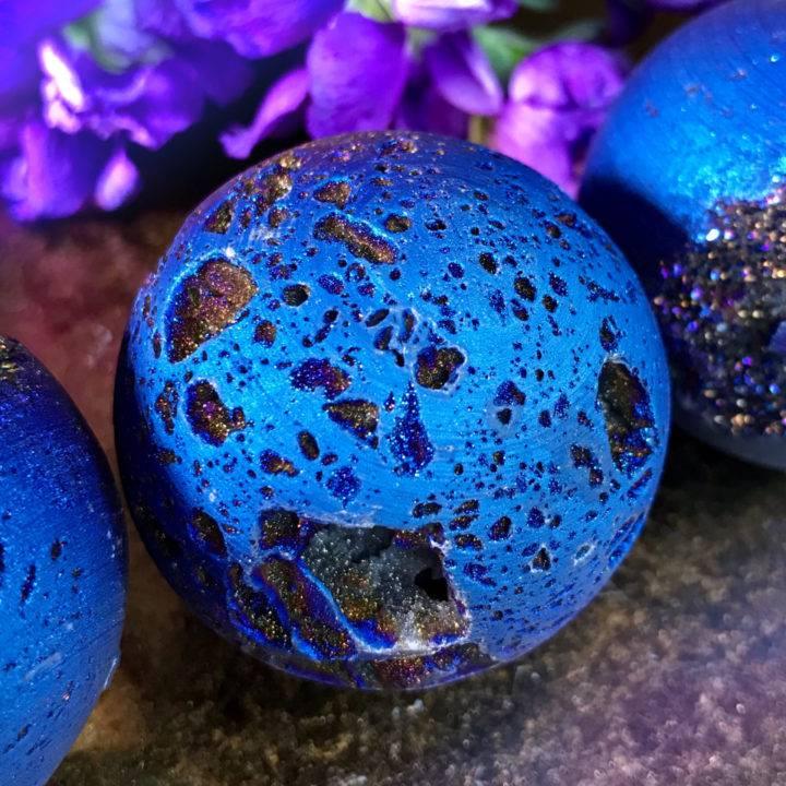 Titanium Aura Quartz Geode Galaxy Spheres