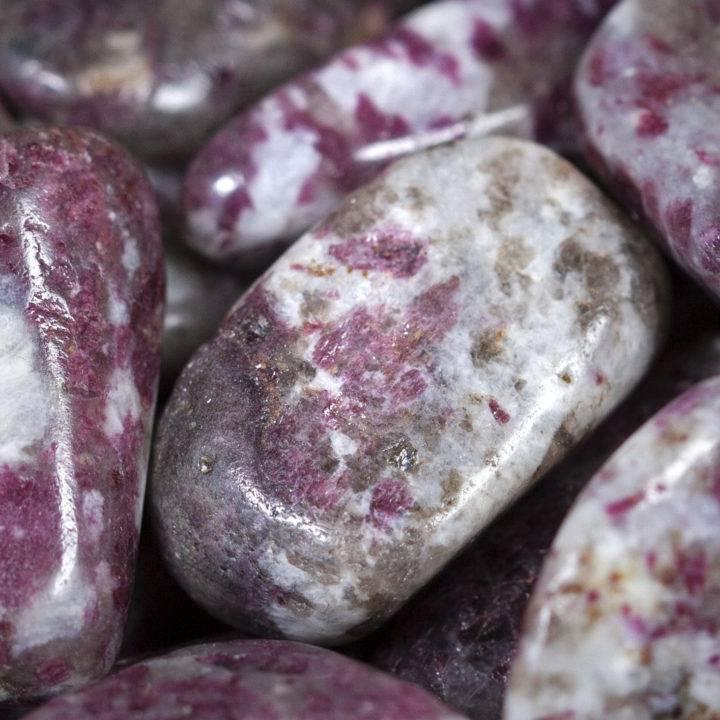 Tumbled Rubellite in Quartz