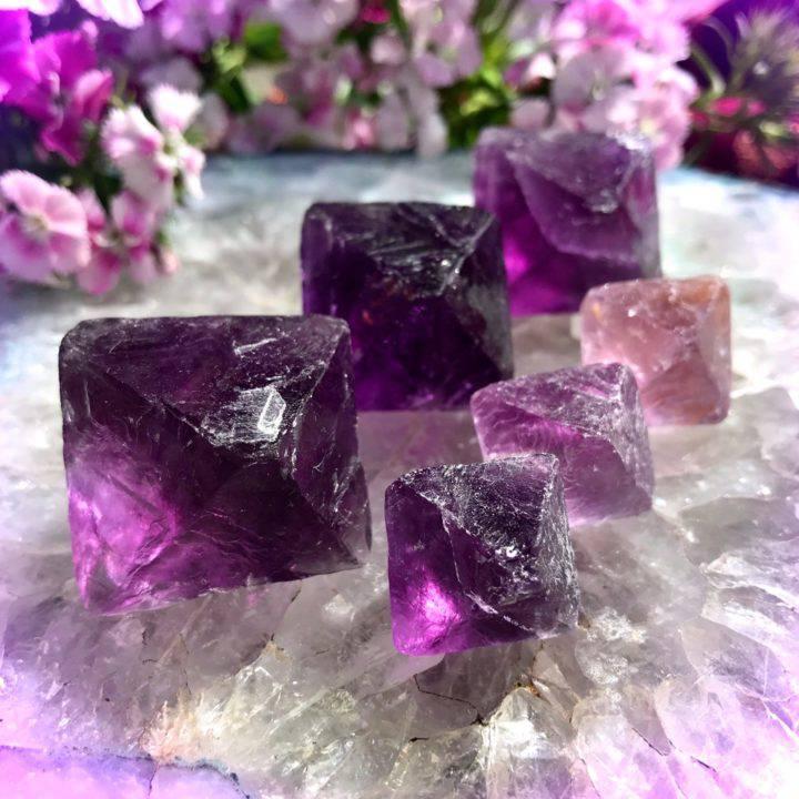 Purple Fluorite Octahedrons