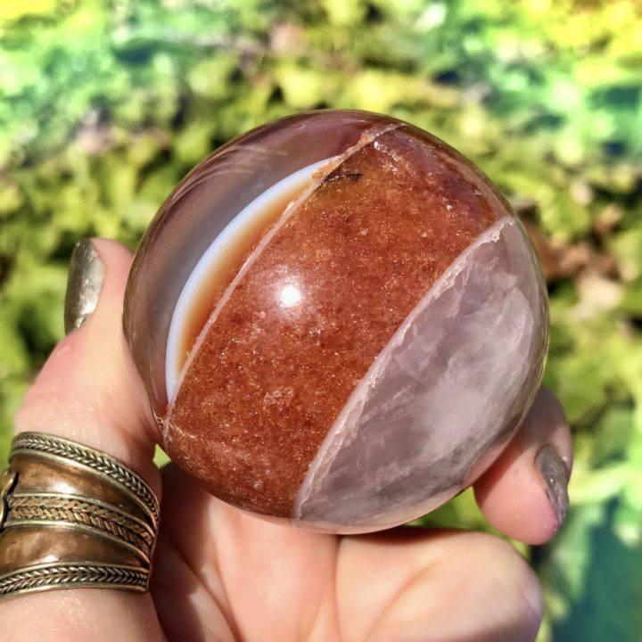 Rose Quartz, Peach Aventurine, and Carnelian Passion Spheres