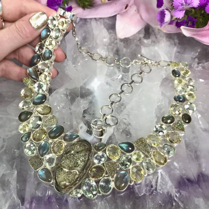 Spectro Pyrite Labradorite Green Amethyst and Lemon Quartz Necklace