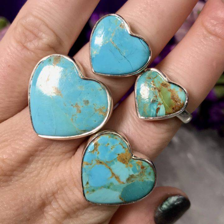 Turquoise Heart Rings
