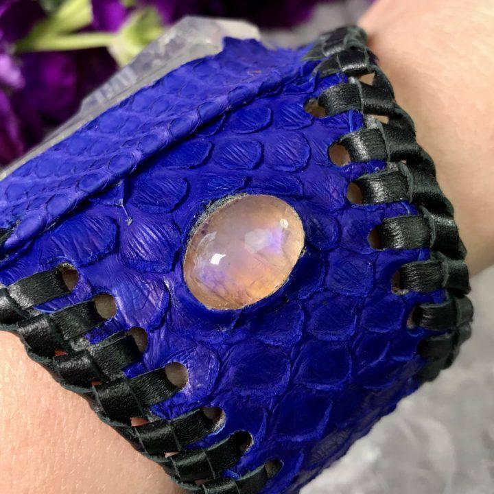 Twin Clear Quartz Purple Snakeskin Cuff