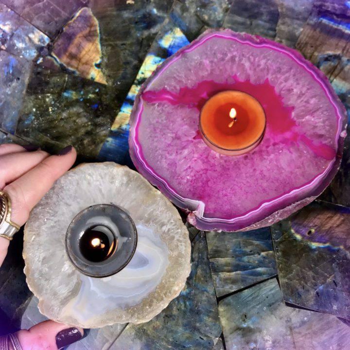 Agate Tea Light Holders