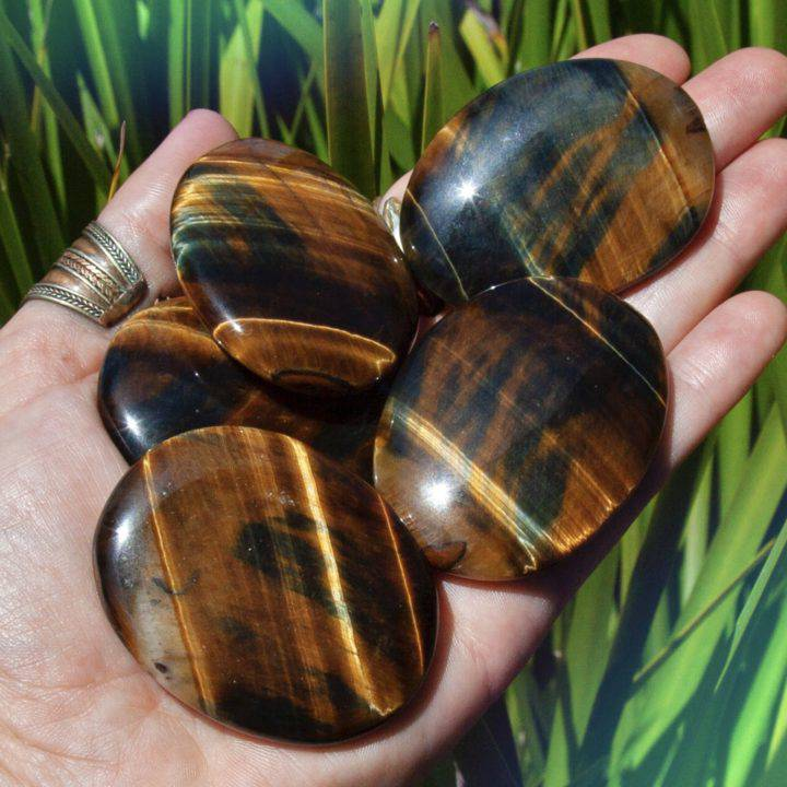 Blue and Gold Tigers Eye Priestess Palm Stones