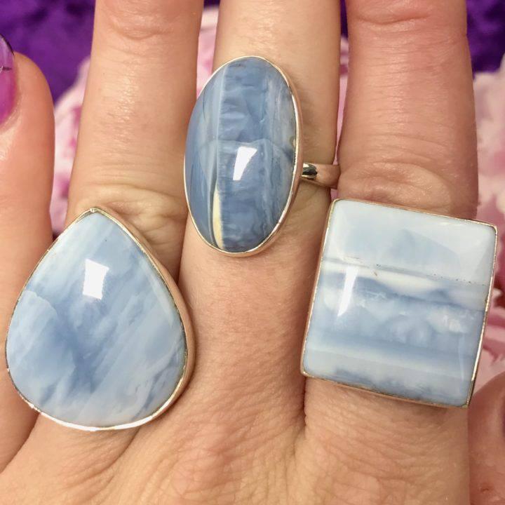 Blue Opal Adjustable Rings
