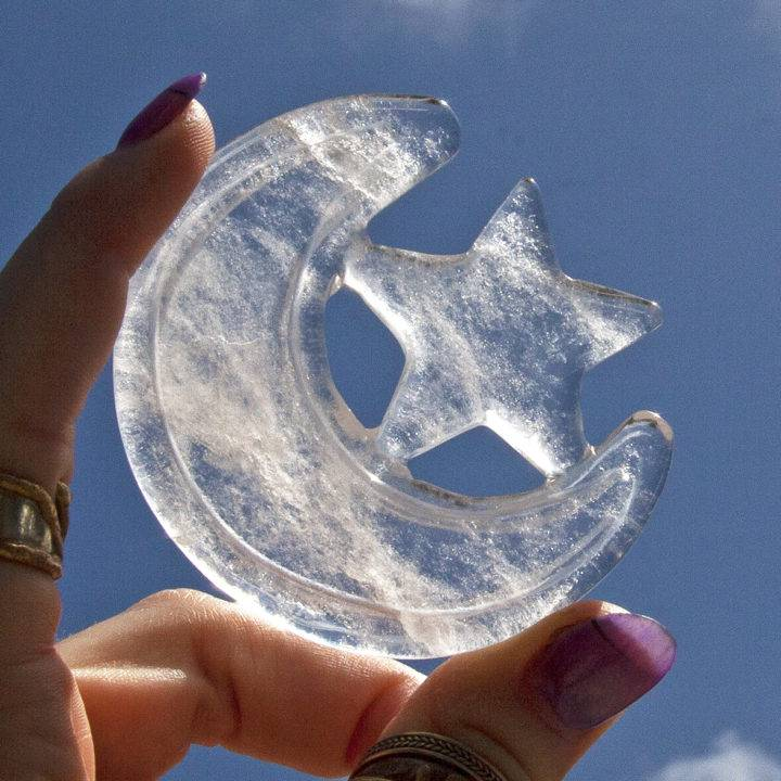 Clear Quartz Moon and Star Carvings