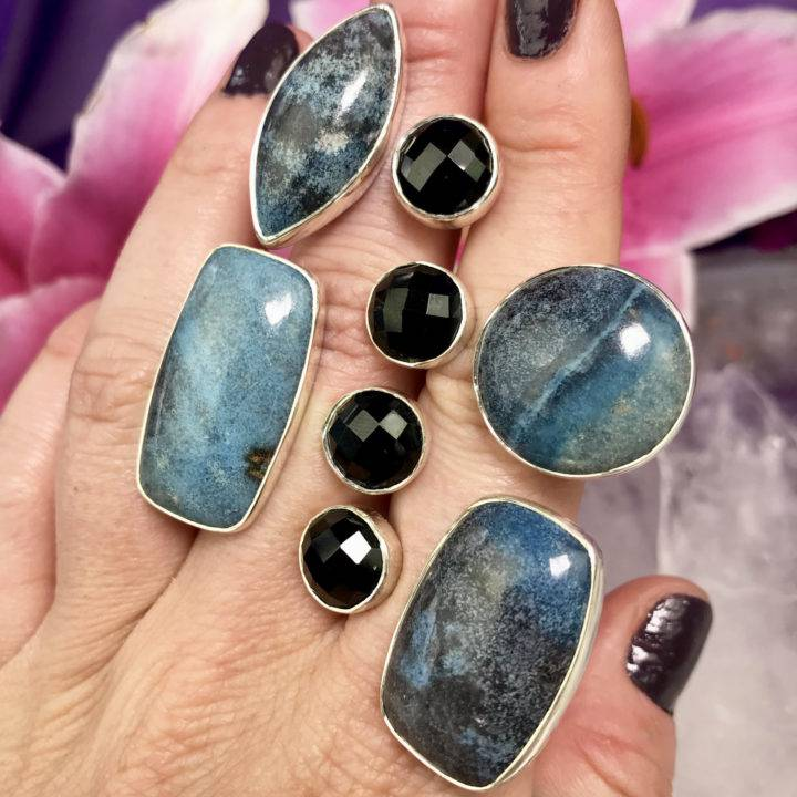 Dumortierite and Faceted Onyx Ring