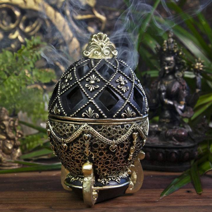 Fancy Black Egg Incense Burners