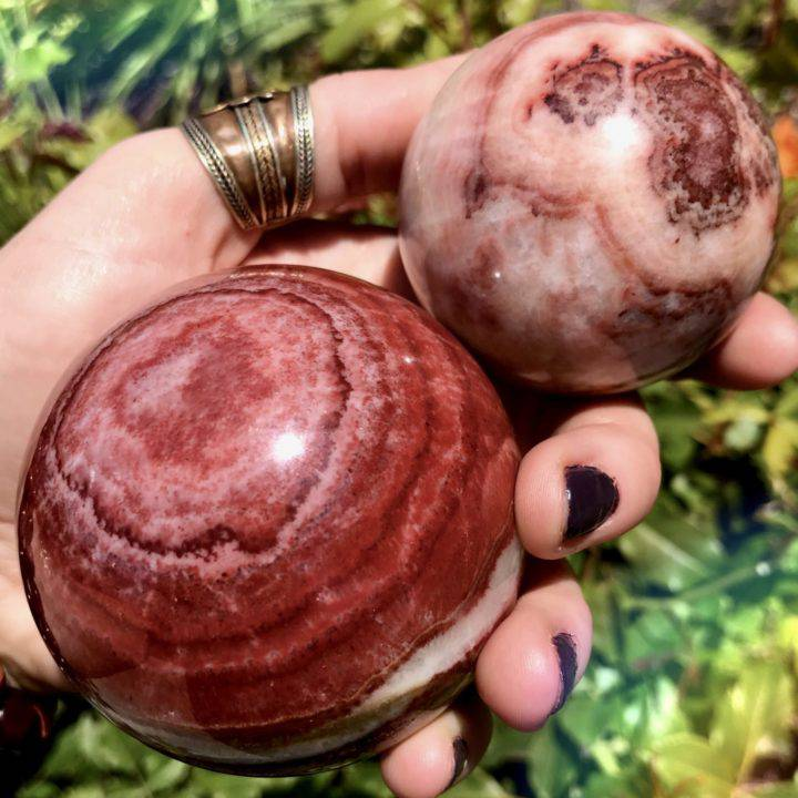 Fear Release Tri-Colored Calcite Spheres