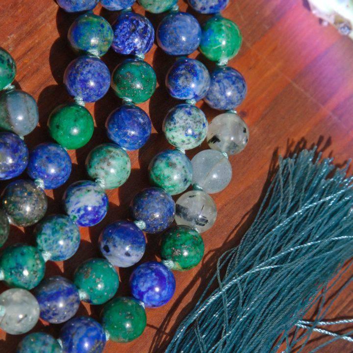 Global Healing Azurite Malachite Prehnite Epidote and Green Moonstone Malas