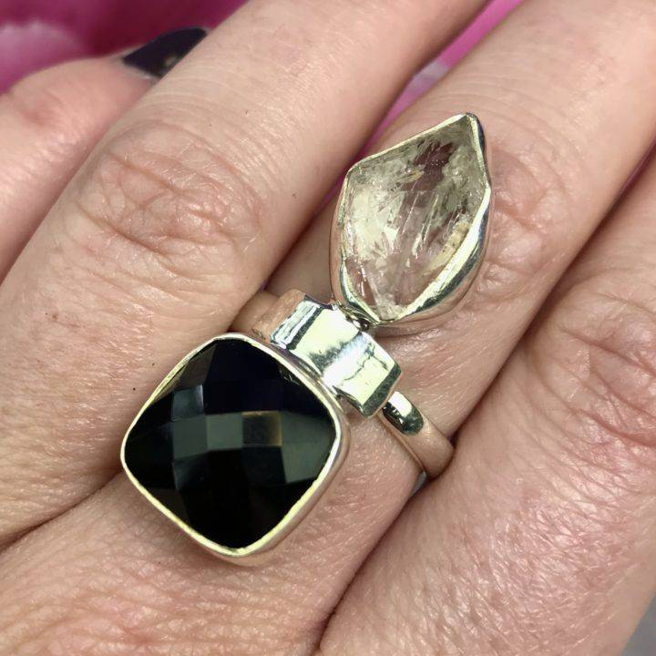 Herkimer Diamond and Faceted Onyx Ring